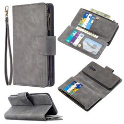 Binfen Color BF02 Sensory Buckle Zipper Multifunction Leather Phone Wallet for Xiaomi Redmi 9 - Gray