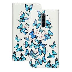 Blue Vivid Butterflies PU Leather Wallet Case for Xiaomi Redmi 9