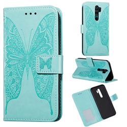 Intricate Embossing Vivid Butterfly Leather Wallet Case for Xiaomi Redmi 9 - Green