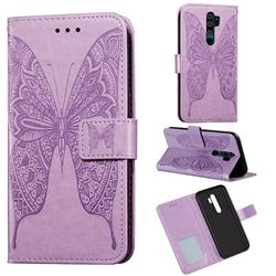 Intricate Embossing Vivid Butterfly Leather Wallet Case for Xiaomi Redmi 9 - Purple