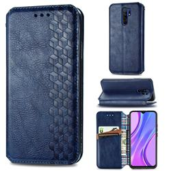 Ultra Slim Fashion Business Card Magnetic Automatic Suction Leather Flip Cover for Xiaomi Redmi 9 - Dark Blue