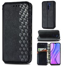 Ultra Slim Fashion Business Card Magnetic Automatic Suction Leather Flip Cover for Xiaomi Redmi 9 - Black