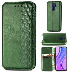 Ultra Slim Fashion Business Card Magnetic Automatic Suction Leather Flip Cover for Xiaomi Redmi 9 - Green