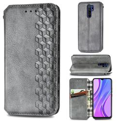Ultra Slim Fashion Business Card Magnetic Automatic Suction Leather Flip Cover for Xiaomi Redmi 9 - Grey
