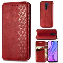 Ultra Slim Fashion Business Card Magnetic Automatic Suction Leather Flip Cover for Xiaomi Redmi 9 - Red
