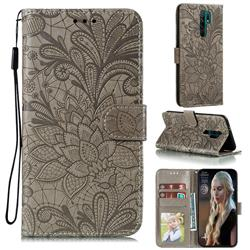 Intricate Embossing Lace Jasmine Flower Leather Wallet Case for Xiaomi Redmi 9 - Gray