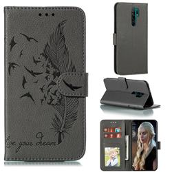 Intricate Embossing Lychee Feather Bird Leather Wallet Case for Xiaomi Redmi 9 - Gray