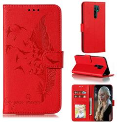 Intricate Embossing Lychee Feather Bird Leather Wallet Case for Xiaomi Redmi 9 - Red