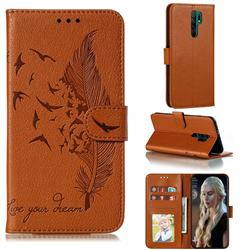 Intricate Embossing Lychee Feather Bird Leather Wallet Case for Xiaomi Redmi 9 - Brown
