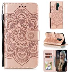Intricate Embossing Datura Solar Leather Wallet Case for Xiaomi Redmi 9 - Rose Gold