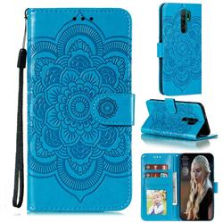 Intricate Embossing Datura Solar Leather Wallet Case for Xiaomi Redmi 9 - Blue