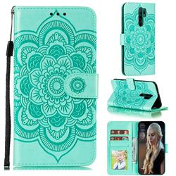 Intricate Embossing Datura Solar Leather Wallet Case for Xiaomi Redmi 9 - Green