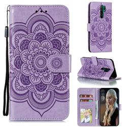 Intricate Embossing Datura Solar Leather Wallet Case for Xiaomi Redmi 9 - Purple