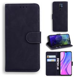 Retro Classic Skin Feel Leather Wallet Phone Case for Xiaomi Redmi 9 - Black