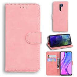 Retro Classic Skin Feel Leather Wallet Phone Case for Xiaomi Redmi 9 - Pink
