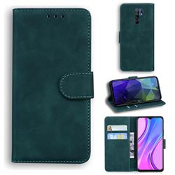 Retro Classic Skin Feel Leather Wallet Phone Case for Xiaomi Redmi 9 - Green