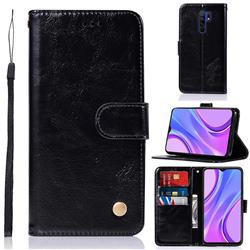 Luxury Retro Leather Wallet Case for Xiaomi Redmi 9 - Black