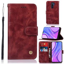 Luxury Retro Leather Wallet Case for Xiaomi Redmi 9 - Wine Red