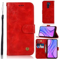 Luxury Retro Leather Wallet Case for Xiaomi Redmi 9 - Red