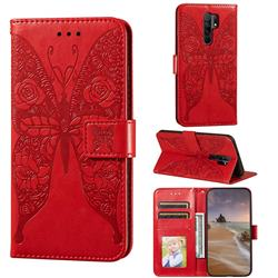 Intricate Embossing Rose Flower Butterfly Leather Wallet Case for Xiaomi Redmi 9 - Red
