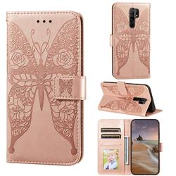 Intricate Embossing Rose Flower Butterfly Leather Wallet Case for Xiaomi Redmi 9 - Rose Gold
