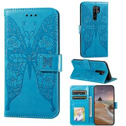 Intricate Embossing Rose Flower Butterfly Leather Wallet Case for Xiaomi Redmi 9 - Blue