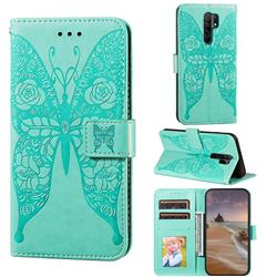 Intricate Embossing Rose Flower Butterfly Leather Wallet Case for Xiaomi Redmi 9 - Green