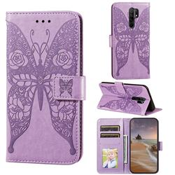 Intricate Embossing Rose Flower Butterfly Leather Wallet Case for Xiaomi Redmi 9 - Purple