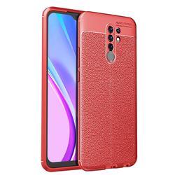 Luxury Auto Focus Litchi Texture Silicone TPU Back Cover for Xiaomi Redmi 9 - Red