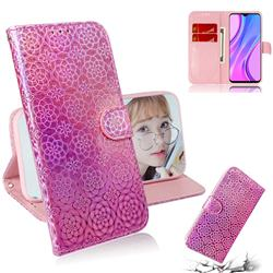 Laser Circle Shining Leather Wallet Phone Case for Xiaomi Redmi 9 - Pink