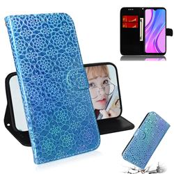 Laser Circle Shining Leather Wallet Phone Case for Xiaomi Redmi 9 - Blue
