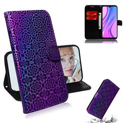 Laser Circle Shining Leather Wallet Phone Case for Xiaomi Redmi 9 - Purple