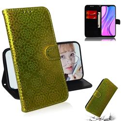 Laser Circle Shining Leather Wallet Phone Case for Xiaomi Redmi 9 - Golden