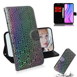 Laser Circle Shining Leather Wallet Phone Case for Xiaomi Redmi 9 - Silver