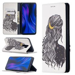 Girl with Long Hair Slim Magnetic Attraction Wallet Flip Cover for Xiaomi Redmi 9