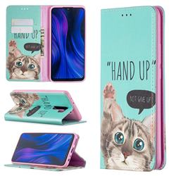 Hand Up Cat Slim Magnetic Attraction Wallet Flip Cover for Xiaomi Redmi 9