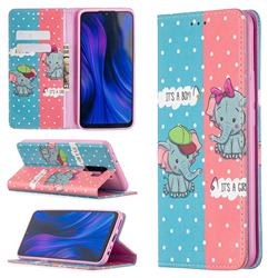 Elephant Boy and Girl Slim Magnetic Attraction Wallet Flip Cover for Xiaomi Redmi 9