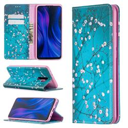 Plum Blossom Slim Magnetic Attraction Wallet Flip Cover for Xiaomi Redmi 9