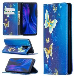 Gold Butterfly Slim Magnetic Attraction Wallet Flip Cover for Xiaomi Redmi 9