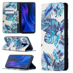 Blue Leaf Slim Magnetic Attraction Wallet Flip Cover for Xiaomi Redmi 9