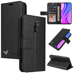 GQ.UTROBE Right Angle Silver Pendant Leather Wallet Phone Case for Xiaomi Redmi 9 - Black