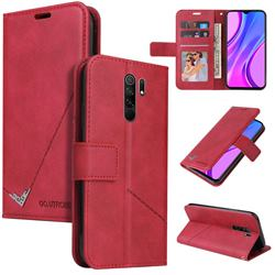 GQ.UTROBE Right Angle Silver Pendant Leather Wallet Phone Case for Xiaomi Redmi 9 - Red