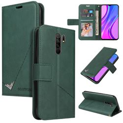 GQ.UTROBE Right Angle Silver Pendant Leather Wallet Phone Case for Xiaomi Redmi 9 - Green