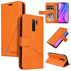 GQ.UTROBE Right Angle Silver Pendant Leather Wallet Phone Case for Xiaomi Redmi 9 - Orange