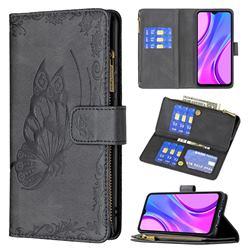 Binfen Color Imprint Vivid Butterfly Buckle Zipper Multi-function Leather Phone Wallet for Xiaomi Redmi 9 - Black