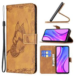 Binfen Color Imprint Vivid Butterfly Leather Wallet Case for Xiaomi Redmi 9 - Brown