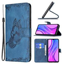 Binfen Color Imprint Vivid Butterfly Leather Wallet Case for Xiaomi Redmi 9 - Blue