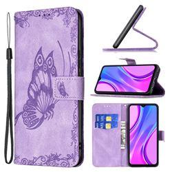 Binfen Color Imprint Vivid Butterfly Leather Wallet Case for Xiaomi Redmi 9 - Purple