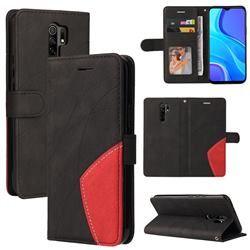 Luxury Two-color Stitching Leather Wallet Case Cover for Xiaomi Redmi 9 - Black