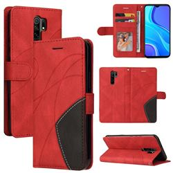 Luxury Two-color Stitching Leather Wallet Case Cover for Xiaomi Redmi 9 - Red